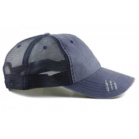 mens washed blue jean curved brim snapback trucker cap