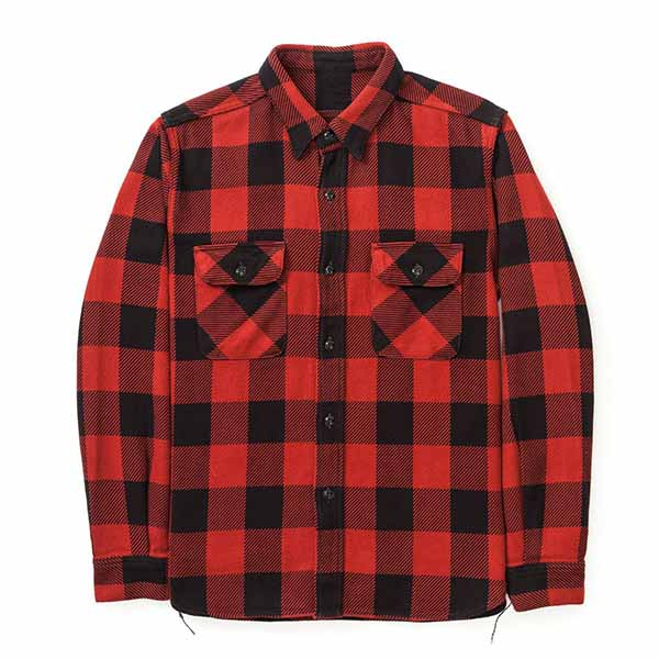 mens black&red check flannel long sleeve shirts