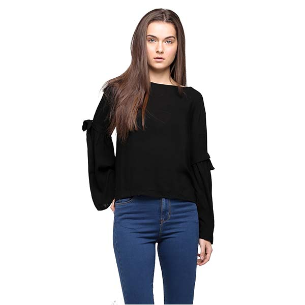 ladies black long sleeve chiffon blouse